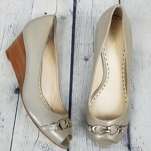 COACH | Precious stacked wedge heel slip-on shoes